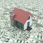 Little red 3D houses on the pile of money in isolated background